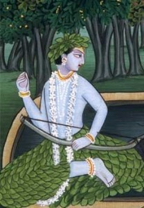 Shri Rama, settimo Avatar di Vishnu, con ghirlanda di Gelsomino al collo